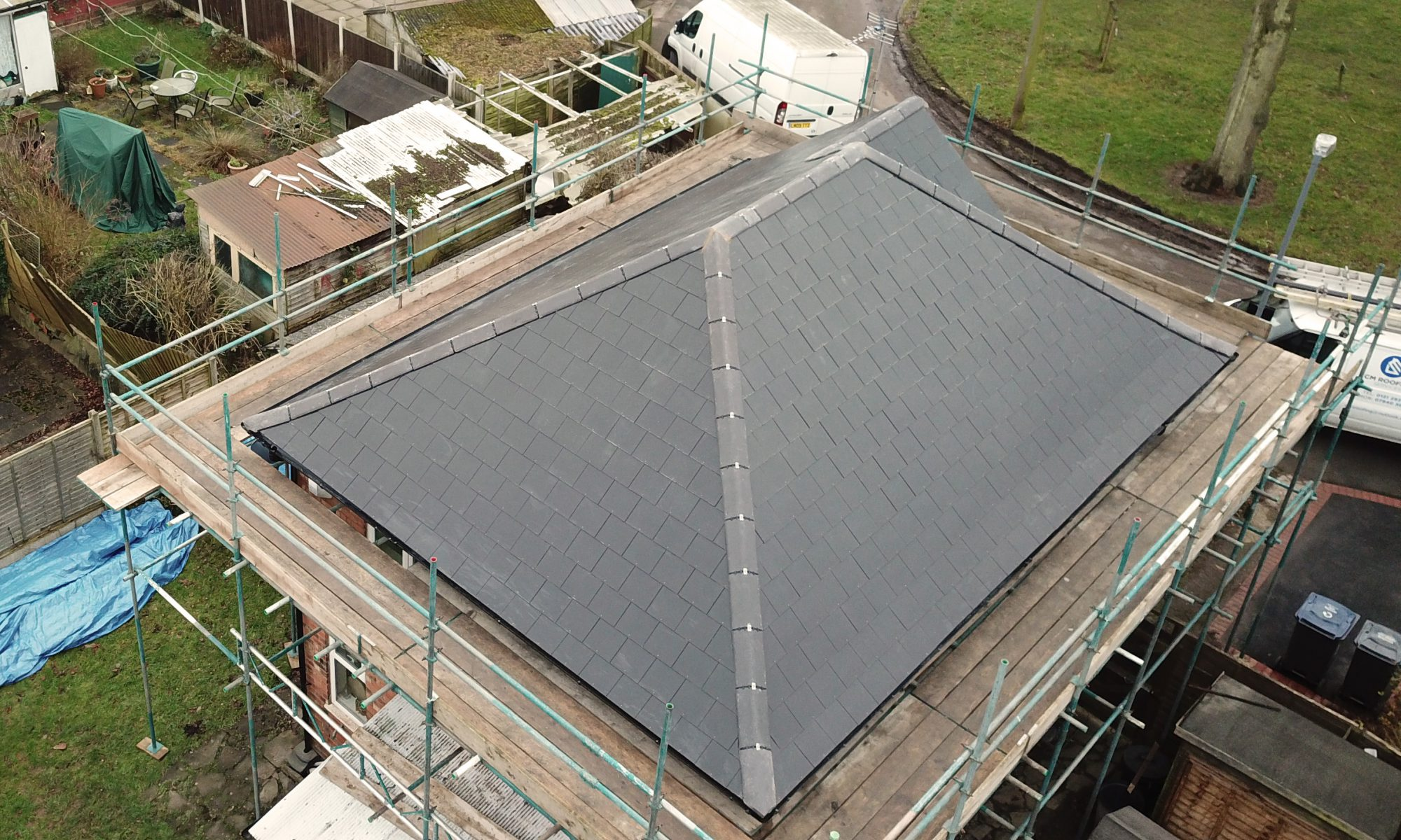 Arial view of a new roof taken by drone.